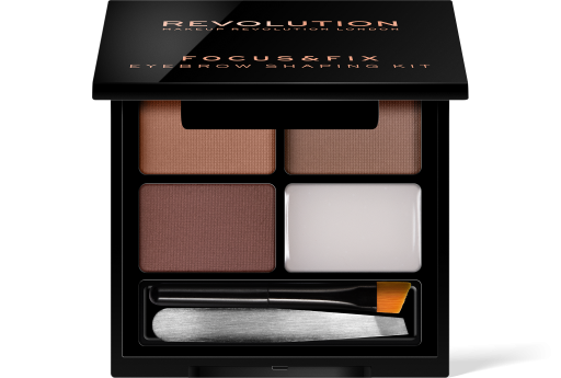 Revolution, Focus & Fix Brow Kit Medium Dark, sada na úpravu obočí