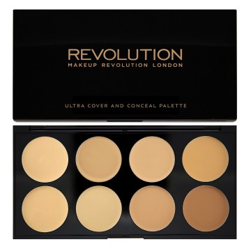 Revolution, Ultra Cover and Concealer Palette Light Medium, paletka korektorů